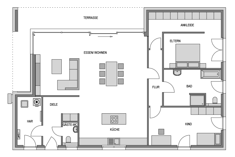 Der Grundriss Erdgeschoss des Bungalow 182 zeigt die interessante Raumaufteilung.
