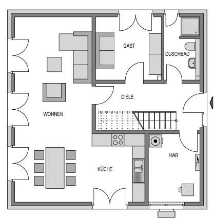 Der Grundriss Erdgeschoss des City 153 zeigt die interessante Raumaufteilung.