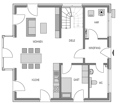 Der Grundriss Erdgeschoss des City 154 zeigt die interessante Raumaufteilung.