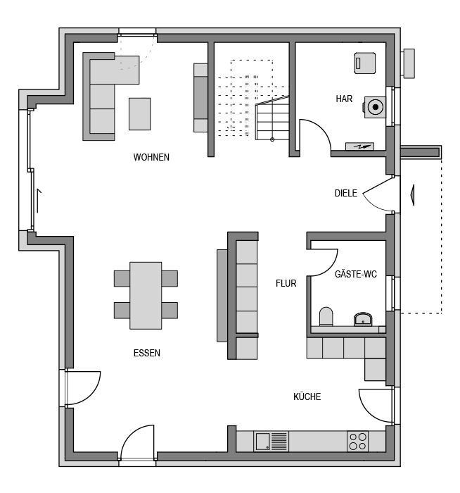 Der Grundriss Erdgeschoss des Cubus 203 zeigt die interessante Raumaufteilung.
