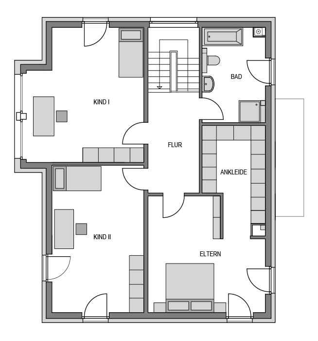 Der Grundriss Obergeschoss des Cubus 203.