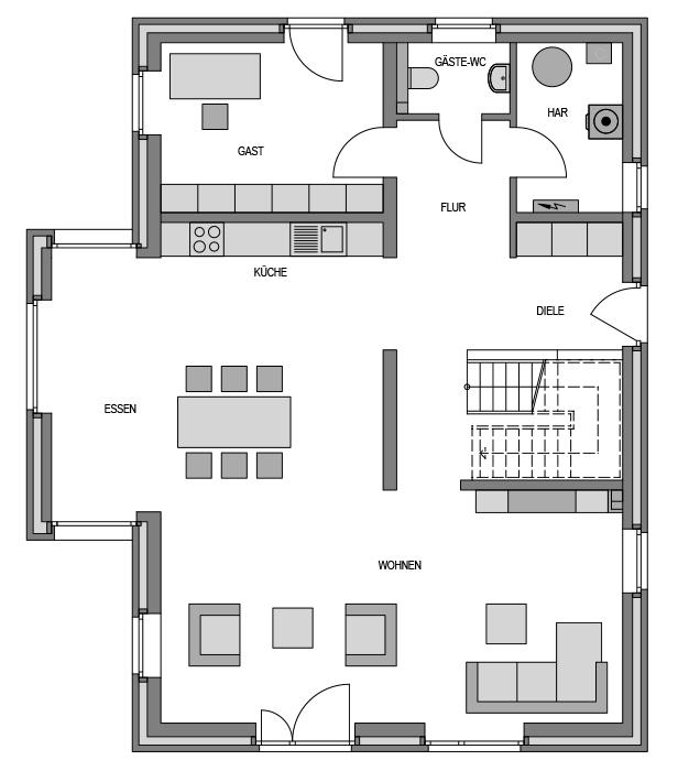 Der Grundriss Erdgeschoss des Cubus 204 zeigt die interessante Raumaufteilung.