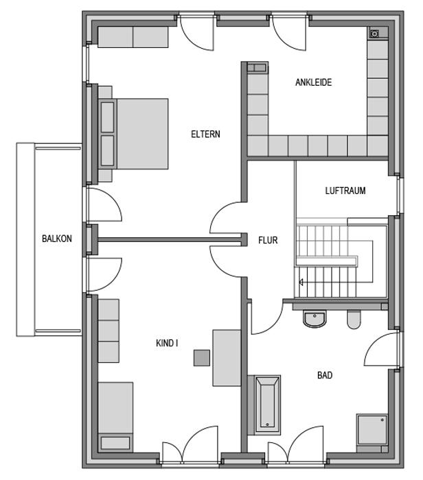 Der Grundriss Obergeschoss des Cubus 204.
