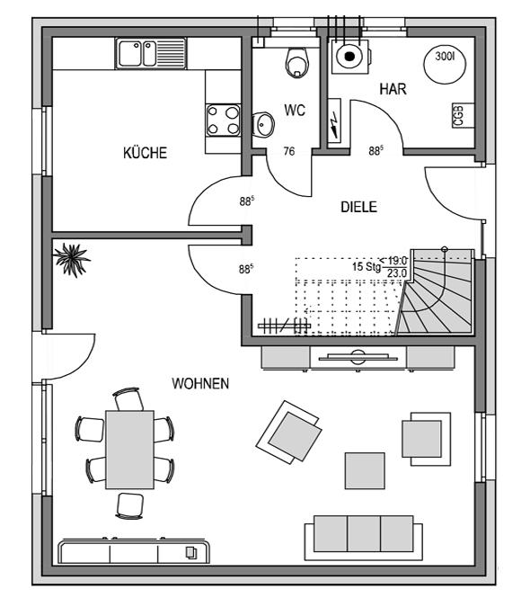 Der Grundriss Erdgeschoss des Vialla 125 zeigt die interessante Raumaufteilung.
