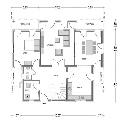 Der Grundriss Erdgeschoss des City 208 zeigt die interessante Raumaufteilung.
