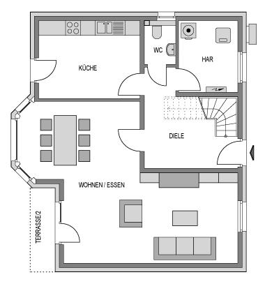 Der Grundriss Erdgeschoss des Vialla 148 zeigt die interessante Raumaufteilung.