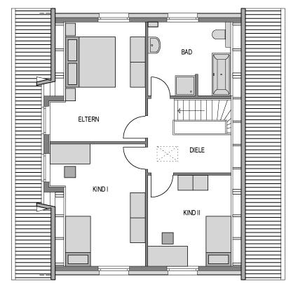 Der Grundriss Obergeschoss des Vialla 148.
