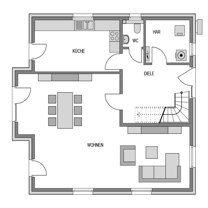 Der Grundriss Erdgeschoss des Vialla 169 zeigt die interessante Raumaufteilung.