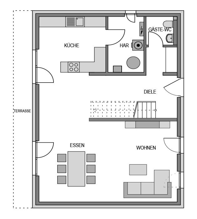 Der Grundriss Erdgeschoss des City 169 zeigt die interessante Raumaufteilung.