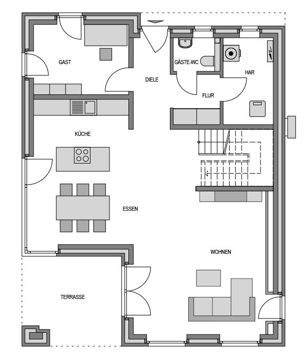 Der Grundriss Erdgeschoss des City 193 zeigt die interessante Raumaufteilung.