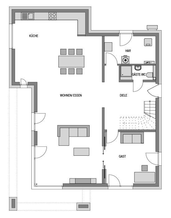 Der Grundriss Erdgeschoss des City 238 zeigt die interessante Raumaufteilung.