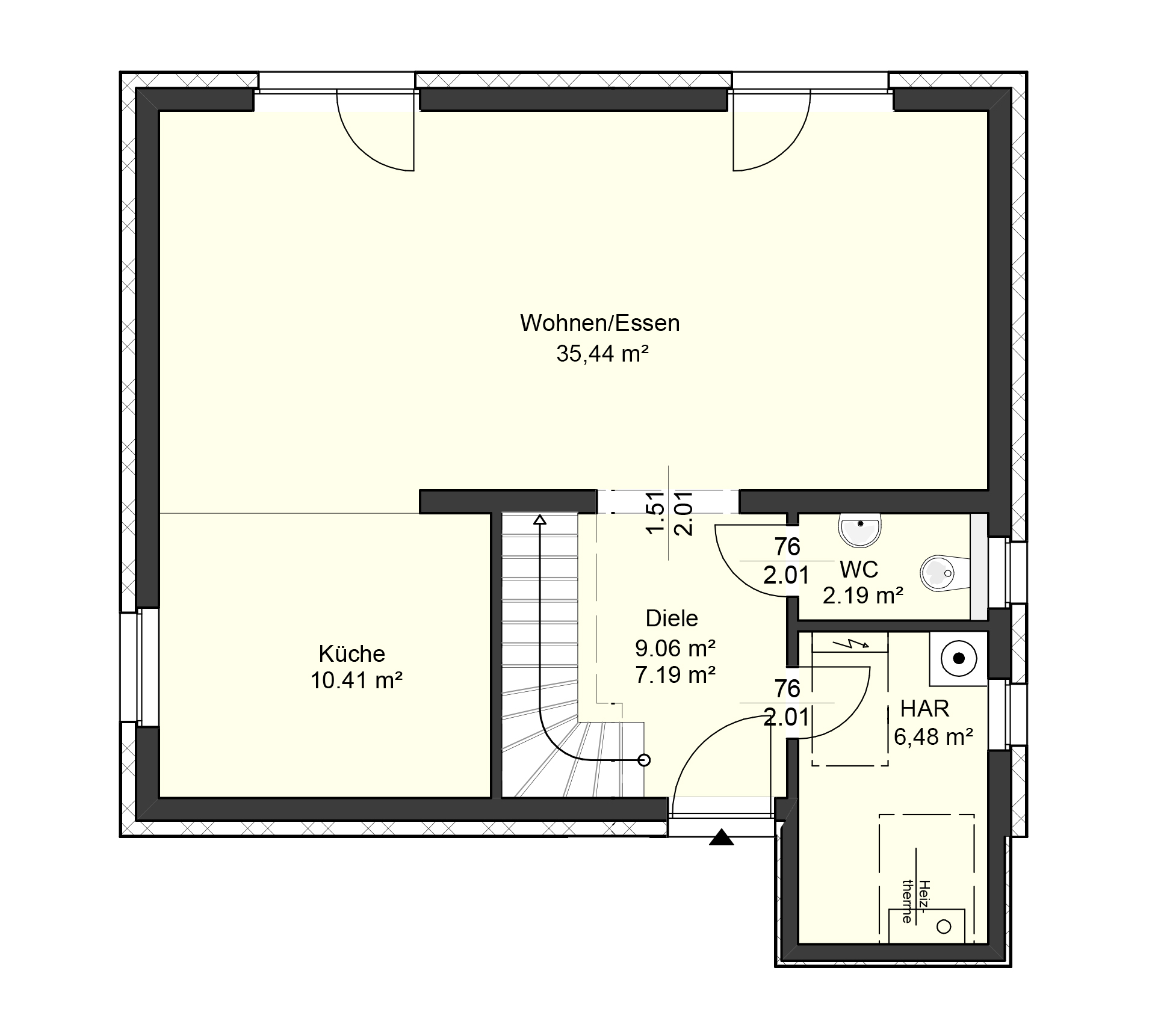 Grundriss Erdgeschoss des Vialla 122 zeigt die interessante Raumaufteilung.