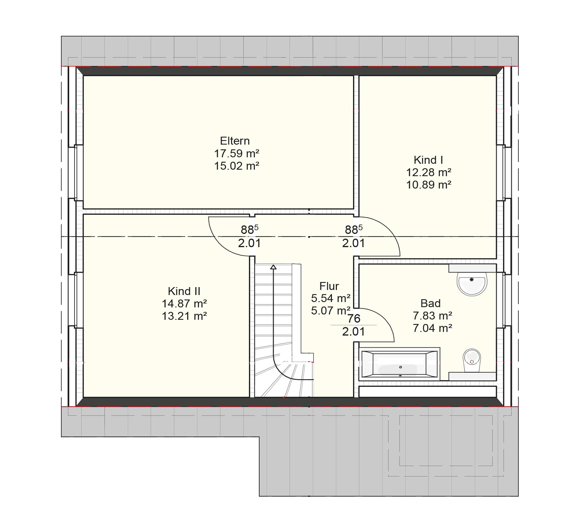 Der Grundriss Obergeschoss des Vialla 122.