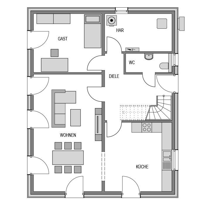 Der Grundriss Erdgeschoss des Vialla 166 Var.4 zeigt die interessante Raumaufteilung.