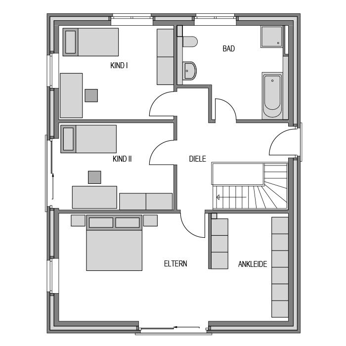Der Grundriss Obergeschoss des Vialla 166 Var.3.
