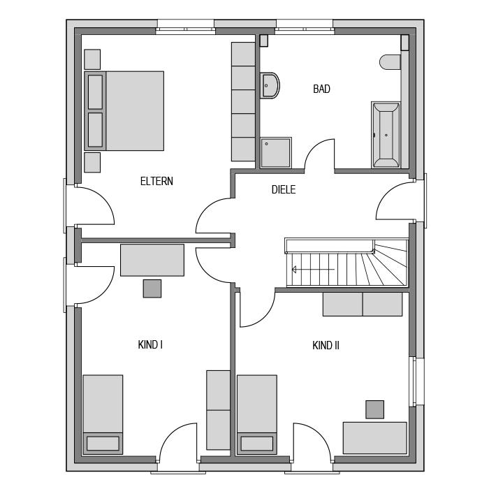 Der Grundriss Obergeschoss des Vialla 166 Var.4 zeigt 2 Kinderzimmer, das Elternschlafzimmer, die Ankleide und ein Bad.